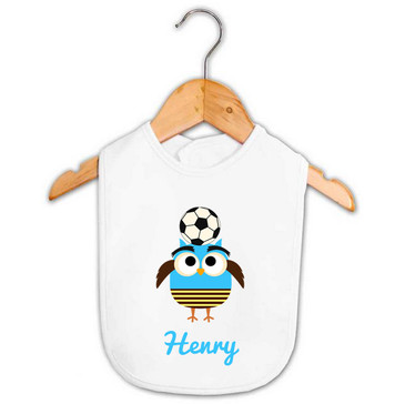 Personalised Boy's Blue Soccer Owl Baby Bib