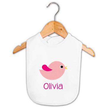 Personalised Girl's Pink Chevron Bird Bib