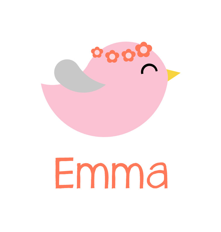 Pink & Coral Bird Baby Name Bib | Personalised Products ...