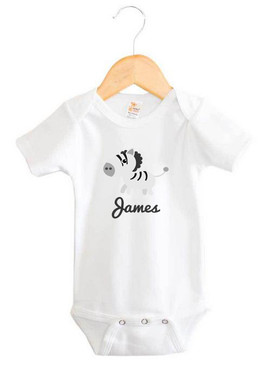 Personalised Zebra Short Sleeve Baby Name Onesie