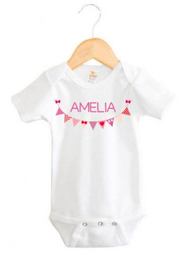 Personalised Purple Bunting Onesie