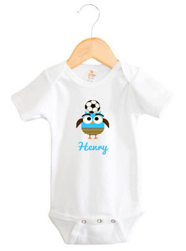 Personalised Boy's Blue Soccer Owl Baby Onesie