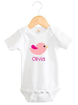 Personalised Girl's Pink Chevron Bird Onesie