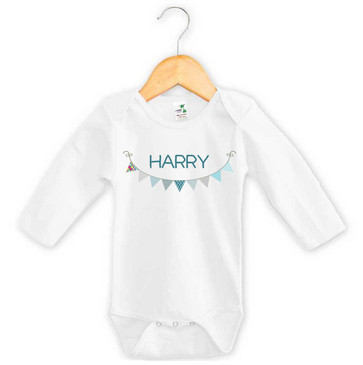 Baby Boy's Name Blue Bunting Long Sleeve Onesie