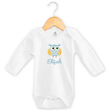 Blue striped owl baby name onesie - Elijah
