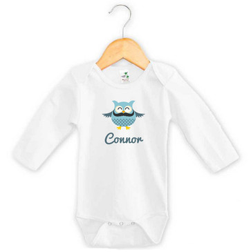 Personalised Blue Moustache Owl Long Sleeve Onesie