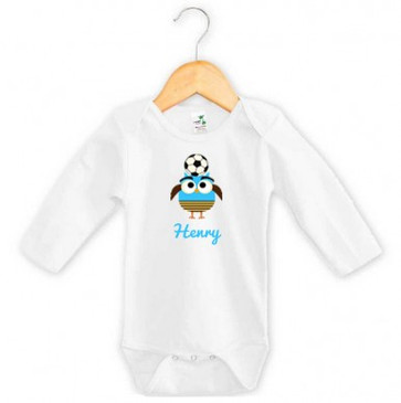 Personalised Blue Soccer Owl Onesie