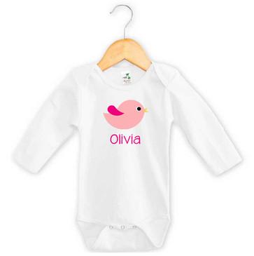 Personalised Girl's Pink Chevron Bird Long Sleeve Onesie