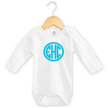 Baby Blue 3 Initial Monogram Long Sleeve Onesie