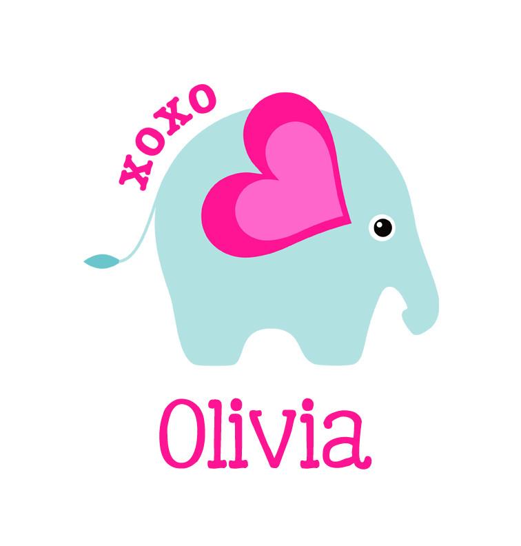 Baby Girl Name Xoxo Elephant Bib Personalised Baby Gifts