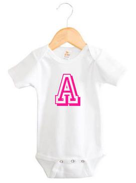 Personalised Initial Pink Varsity Letter Baby Onesie
