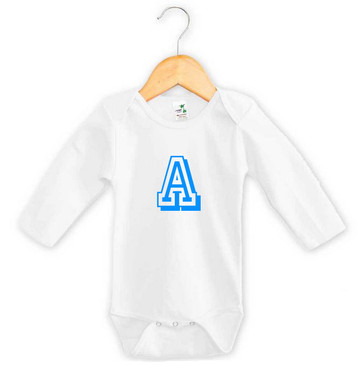 Personalised Blue Varsity Letter Baby Long Sleeve Onesie
