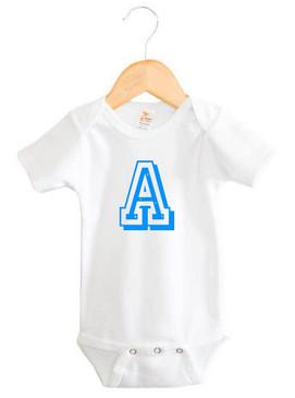 Personalised Blue Varsity Letter Baby Initial Onesie