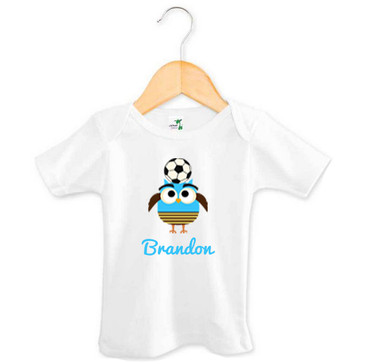 Personalised Boy's Blue Soccer Owl Baby Tee