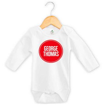 Personalised Baby Name Red Circle Long Sleeve Onesie