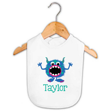 Blue & Green Monster Baby Name Bib