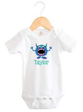 Blue & Green Monster Baby Name Onesie