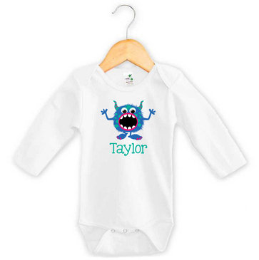 Blue & Green Monster Baby Name Long Sleeve Onesie