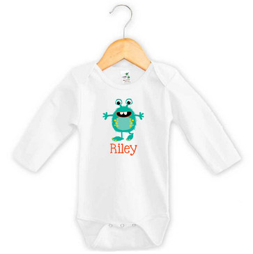 Teal Green Monster Baby Name Long Sleeve Onesie