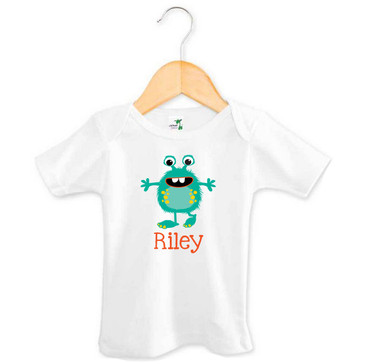 Teal Green Monster Baby Name Tee