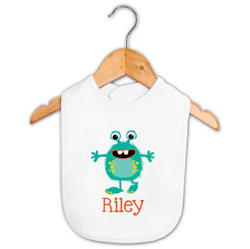 Teal Green Monster Baby Name Bib