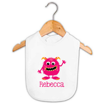 Pink & Yellow Monster Baby Name Bib