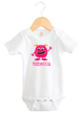 Pink & Yellow Monster Baby Name Onesie