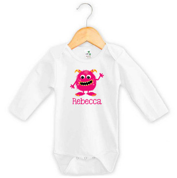 Pink & Yellow Monster Baby Name Long Sleeve Onesie