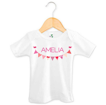 Personalised Purple Bunting Baby Name Tee