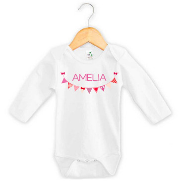 Personalised Purple Bunting Long Sleeve Onesie