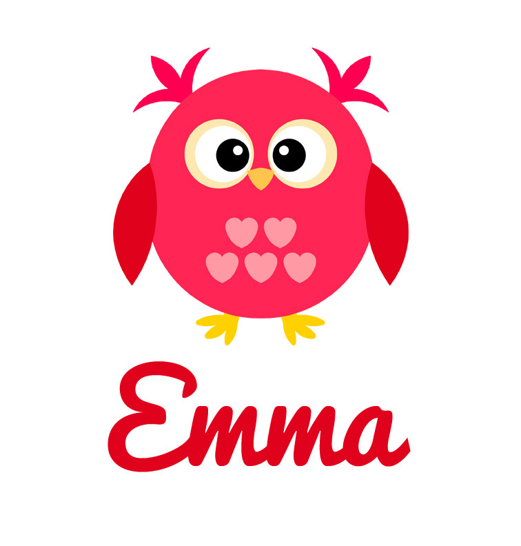 Girl's Name Pink & Red Love Owl Baby Top | Personalised ...