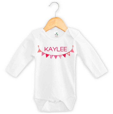 Personalised Pink Bunting Long Sleeve Onesie