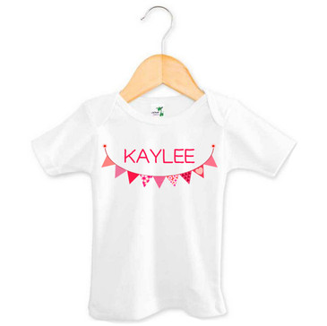Personalised Pink Bunting Baby Name Tee