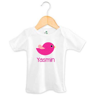 Personalised Girl's Name Pink Bird Tee