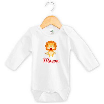 Personalised Lion Baby Name Long Sleeve Onesie