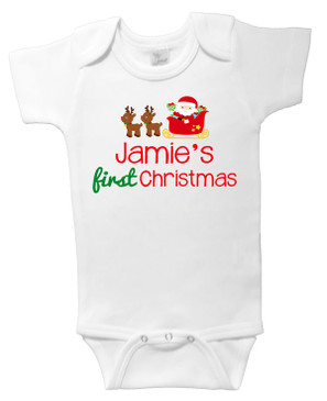 Personalised Name First Christmas Onesie