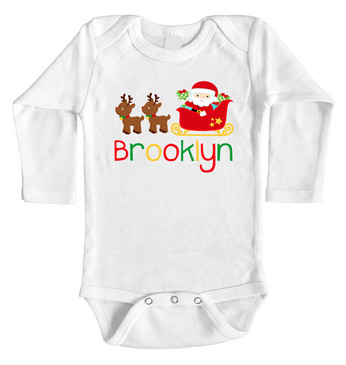 Personalised Name Santa Sleigh Long Onesie