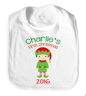 Personalised Name Bib - First Christmas Elf