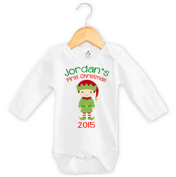 First Christmas Elf Baby Name Onesie - Jordan 2015