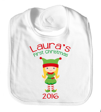 Personalise Bib - Name  First Christmas Girl Elf 2016