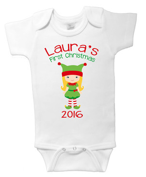 Personalised Christmas Onesie - Laura's First Christmas 2016