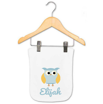 Personalised Boy's Blue Striped Owl Baby Burp Cloth