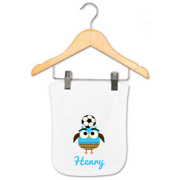 Personalised Boy's Blue Soccer Owl Baby Burp Cloth