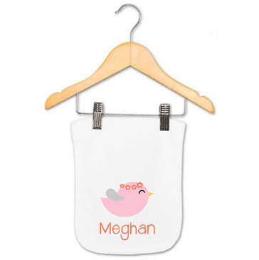 Personalised Girl's Pink & Coral Bird Burp Cloth