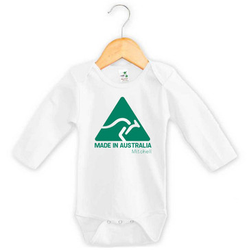 Personalised Made in Australia Long Sleeve Onesie