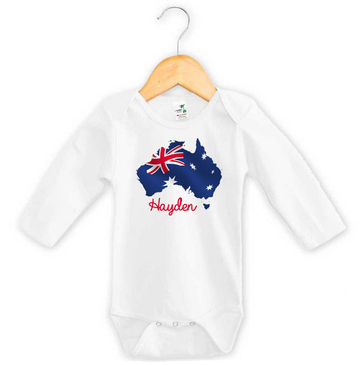 Personalised Australia Flag Long Sleeve Onesie