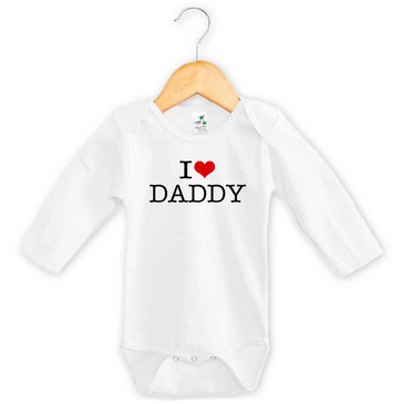 I Heart Daddy Baby Long Sleeve Onesie