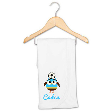 Personalised Soccer Owl Receiving Blanket