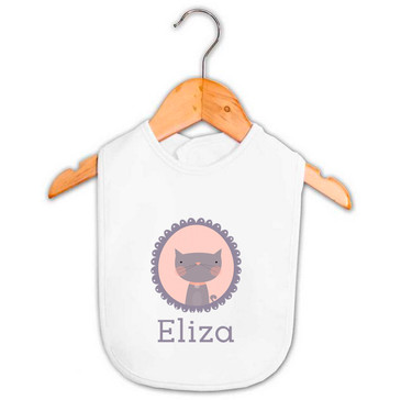 Personalised baby name cat bib