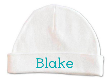 Personalised baby name beanie - teal